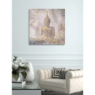 The Curated Nomad 'Buddha In Peace' Canvas Art - gold, amethyst