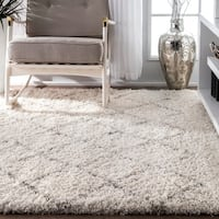 Strick & Bolton Robert Soft and Plush Moroccan Trellis Natural Shag Area Rug - 7'6 x 9'6