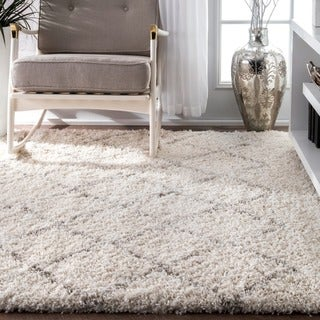 Strick & Bolton Robert Soft and Plush Moroccan Trellis Natural Shag Area Rug