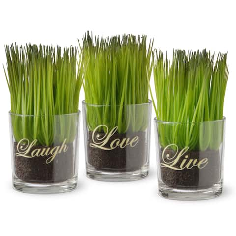Copper Grove Machmell Printed 'Live, Laugh, Love' Glass Pots with Artificial Grass (Set of 3) - Green