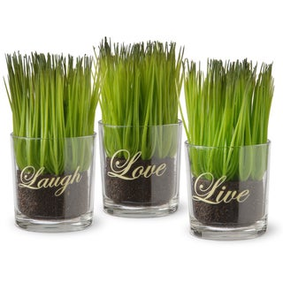 Copper Grove Machmell Printed 'Live, Laugh, Love' Glass Pots with Artificial Grass (Set of 3)