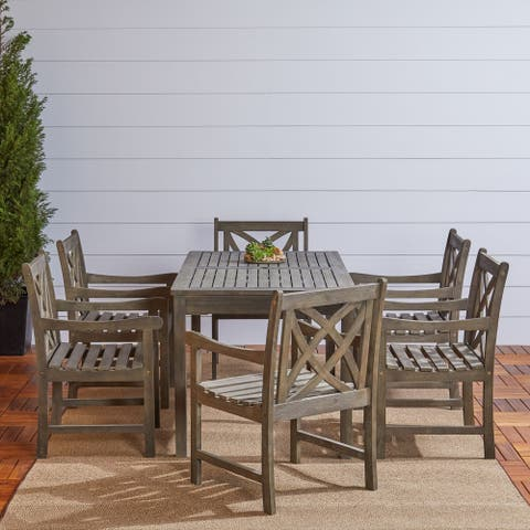 Renaissance Eco-friendly 7-piece Outdoor Hand-scraped Hardwood Dining Set with Rectangle Table and A