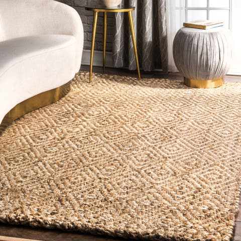 The Curated Nomad Parsifal Handmade Eco Natural Fiber Jute Diamond Area Rug