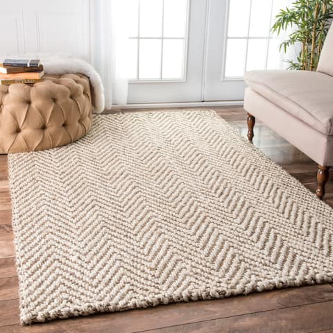 The Curated Nomad Brody Handmade Eco Fiber Jute Chevron Area Rug