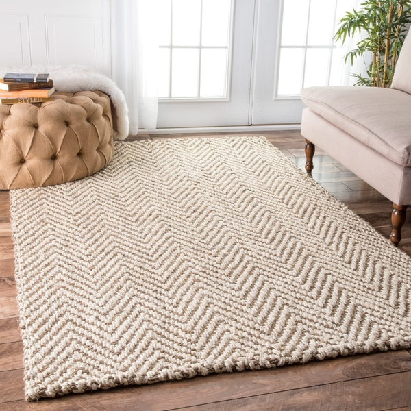 The Curated Nomad Brody Handmade Eco Natural Fiber Jute Chevron Area Rug