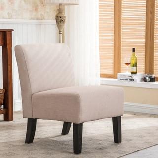 Porch & Den Lamar Fabric, Wood Armless Slipper Chair