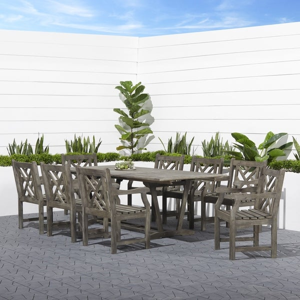 Renaissance Eco-friendly 9-piece Outdoor Hand-scraped Hardwood Dining Set with Rectangle Extension T. Opens flyout.