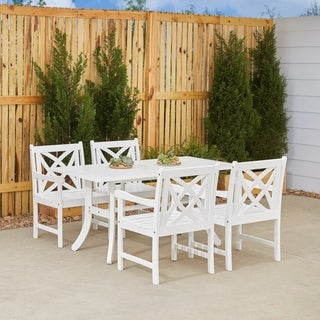 Havenside Home Surfside 5-piece White Patio Dining Set with Table and Armchairs