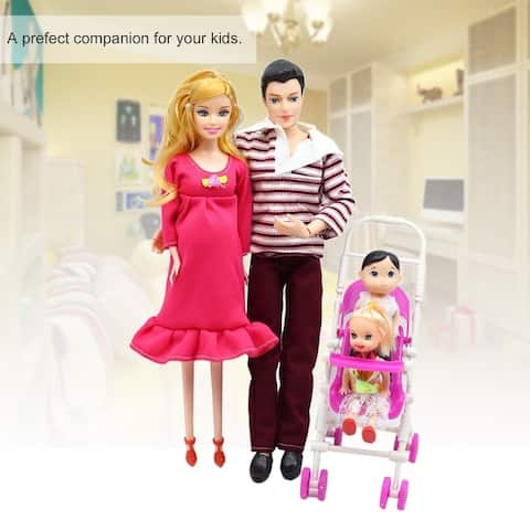 b8aa0db5a 5 People Dolls Suit Pregnant Doll Family Mom+Dad+Baby Son+2 Kids