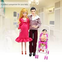 5 People Dolls Suit Pregnant Doll Family Mom+Dad+Baby Son+2 Kids+Baby Carriage