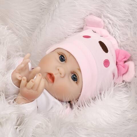 16202a551b4d5 55CM Non-Toxic Lovely Kids Reborn Baby Doll Vinyl Lifelike Newborn Doll Girl