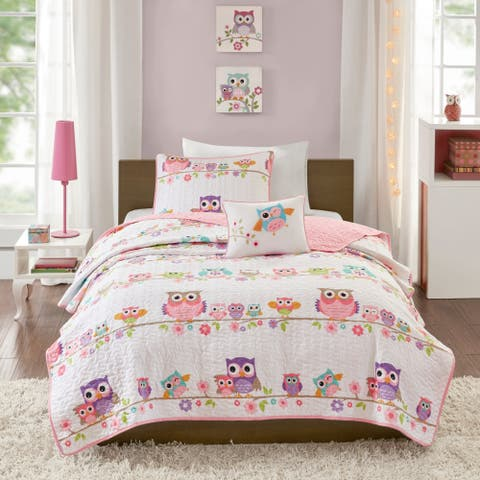 Mi Zone Kids Noctural Nellie White Printed Coverlet Set