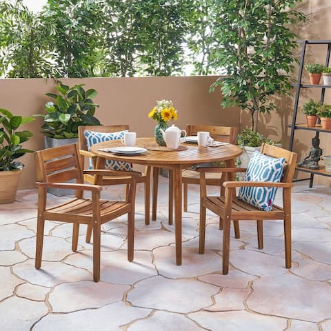 Stamford Outdoor 5 Piece Acacia Wood Dining Set by Christopher Knight Home