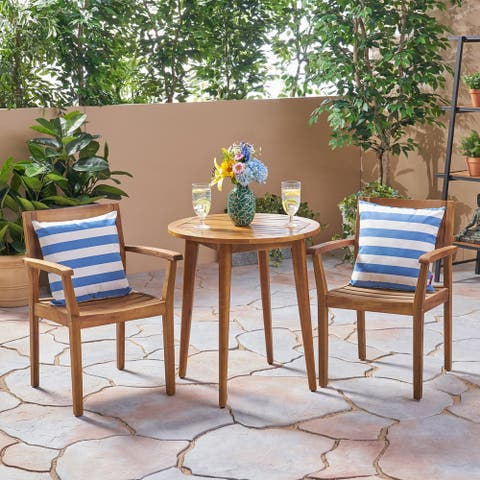 Stamford Outdoor 3 Piece Acacia Wood Bistro Set by Christopher Knight Home