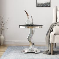 Narelle Contemporary Stainless Steel Accent Table With Tempered Glass Top by Christopher Knight Home