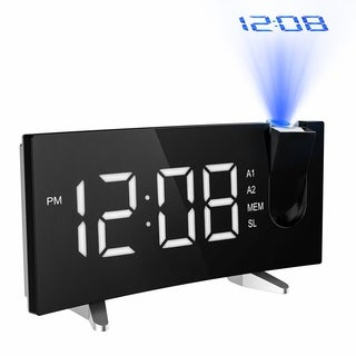 Projection Alarm Clock with FM Radio, 5-inch Dimmable Screen Celling Display