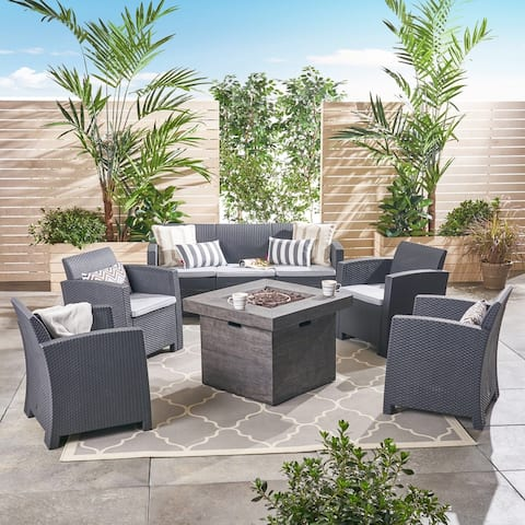 Selway Outdoor 7-Seater Chat Set with Fire Pit by Christopher Knight Home