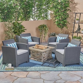 Folsom Outdoor 4-Seater Chat Set with Wood Burning Fire Pit by Christopher Knight Home