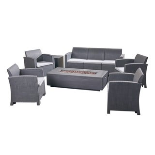 Christopher Knight Home Leavitt Outdoor 7-Seater Patio Chat Set with Fire Pit