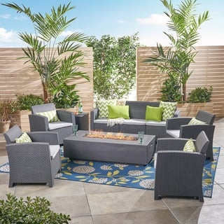 Leavitt Outdoor 7-Seater Chat Set with Fire Pit by Christopher Knight Home