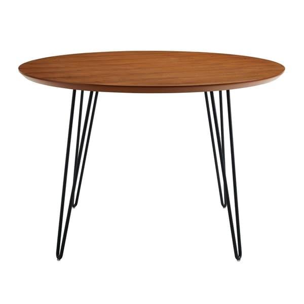 "WE Furniture 46"" Round Hairpin Leg Kitchen Dining Table - Walnut"
