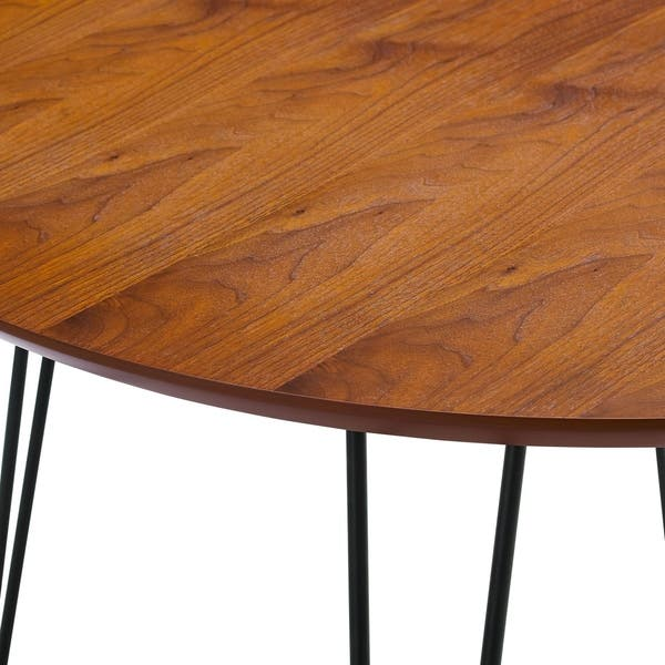 Shop We Furniture 46 Round Hairpin Leg Kitchen Dining Table