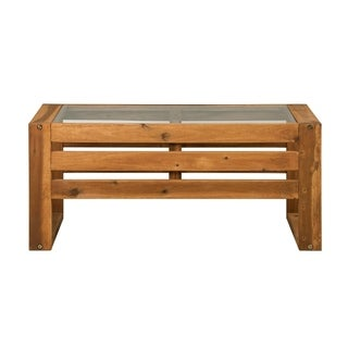 WE Furniture Open Side Wood Outdoor Coffee Table - Brown