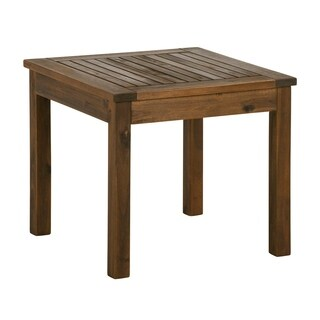 "WE Furniture 20"" Wood Patio Simple Square Side Table - Dark Brown"