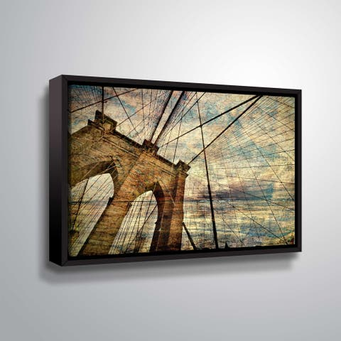 ArtWall's Brooklyn Bridge 2 Gallery Wrapped Floater-framed Canvas