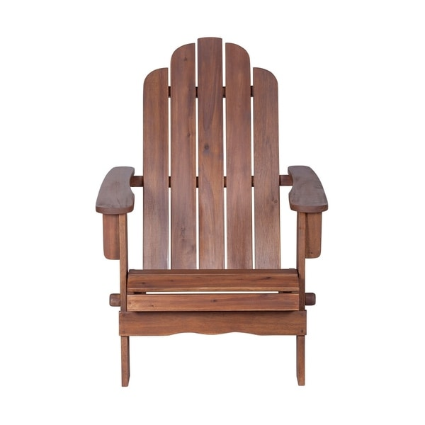 We Furniture Solid Acacia Wood Adirondack Chair Dark Brown