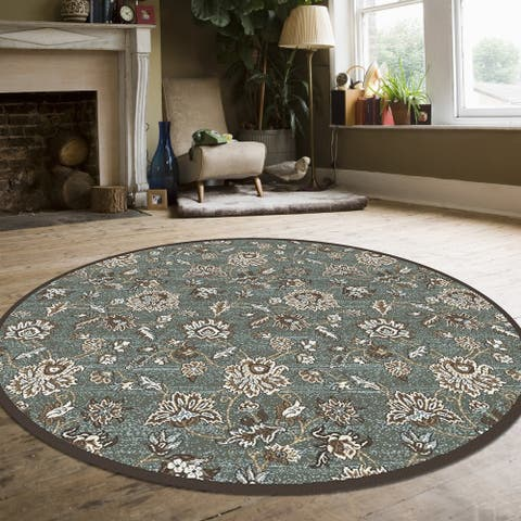 """Plaza Floral Area Rug - 7'10"""" Round"""
