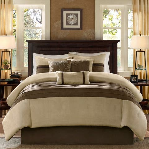 Madison Park 'Teagan' 7-piece Comforter Set Full Size in Natural (As Is Item)