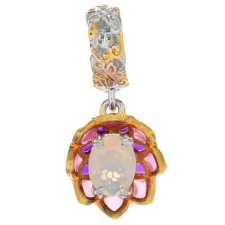 Michael Valitutti Palladium Silver Ethiopian Opal Multi Color Enamel Flower Drop Charm - Pink