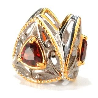 Michael Valitutti Palladium Silver Two-Tone Trillion Cut Garnet Slide-on Charm - Red