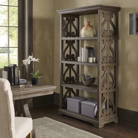 "Gannon Wire Brushed Oak Finish 40"" Wood Bookcase by iNSPIRE Q Artisan - 7'9"" x 9'9"""