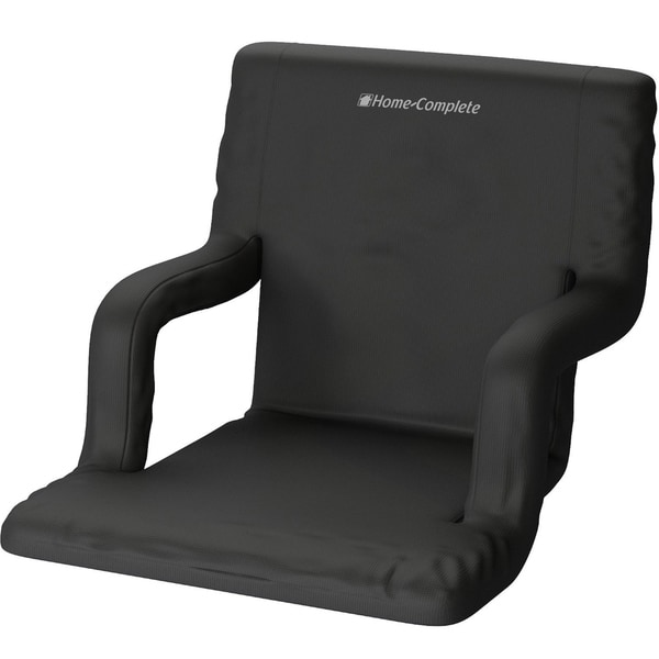 Stadium Seat Chair- with Padded Back Support, Armrests, 6 Reclining Positions and Portable Carry Straps By Home-Complete - Black