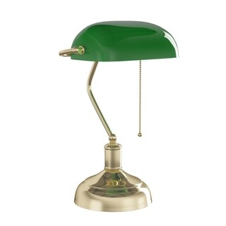 Bankers Lamp with Green Glass Shade- Antique Vintage Style Retro Desk Lavish Home