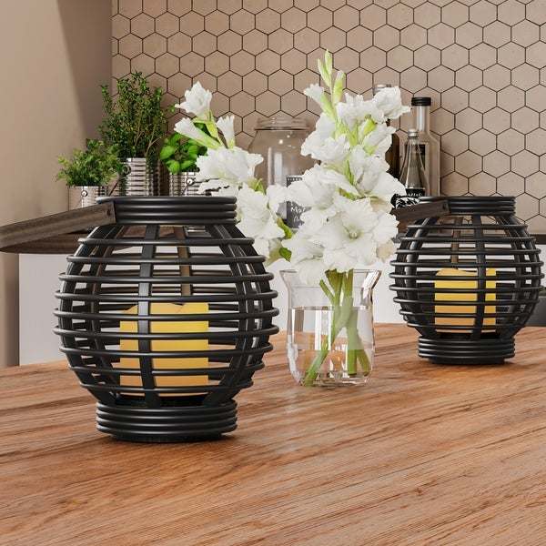 Decorative Round Candle Lantern with Rustic Rattan-Style Design, Set of 2 Lavish Home