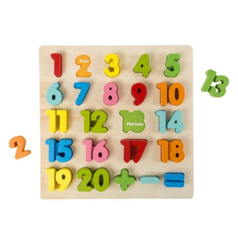Wooden Number Puzzle Board with Colorful Pieces and Math Signs- STEM Hey! Play!