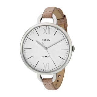 Fossil Women's ES4357 'Annette' Silver-Tone Stainless Steel and Brown Leather 36mm Round Watch
