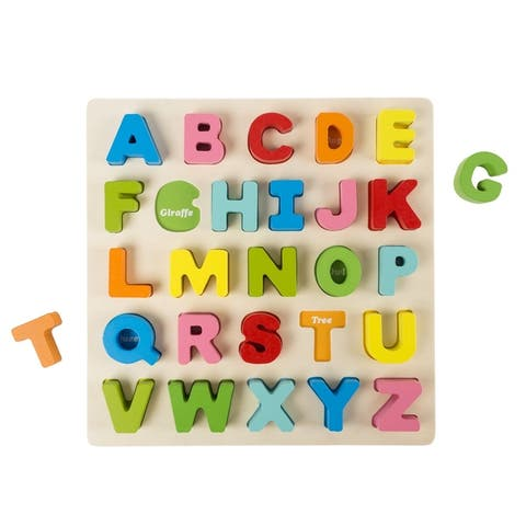 Wooden Alphabet Puzzle Board with Colorful Wood Letters- Educational Hey! Play!
