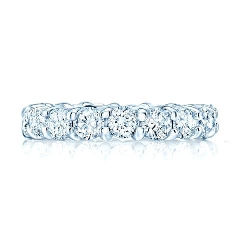 Round Diamond Eternity Band In 18k White Gold, Size 10