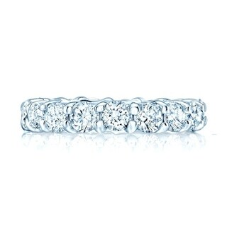 Round Diamond Eternity Band In 18k White Gold, Size 10