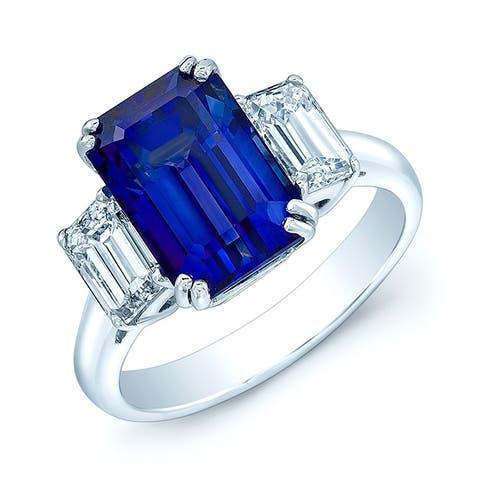 Platinum Sapphire and Emerald Cut Diamond (1.46 ct. t.w) Statement Ring, Size 7