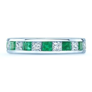 Emerald & Diamond Princess Cut Eternity Band In 14k White Gold, Size 6