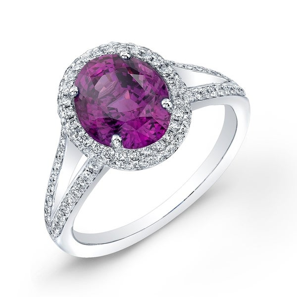 18K White Gold Pink Sapphire and Round Cut Diamond (0.42 ct. t.w) Halo Statement Ring, Size 7