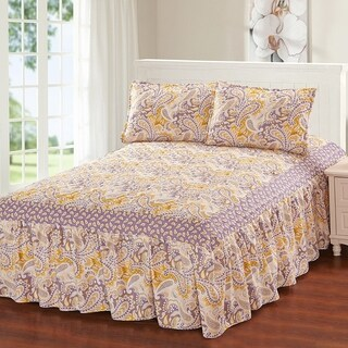 Hailey 3 Piece bedspread set with attached bed skirt - Apricot & Lilac