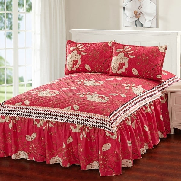 Hailey 3 Piece Bedspread Set With Attached Bed Skirt Cranberry