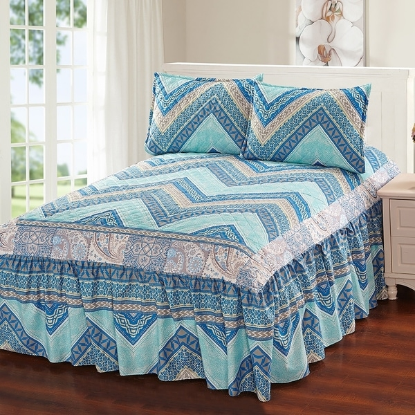 Hailey 3 Piece Bedspread Set With Attached Bed Skirt Blue Chevron