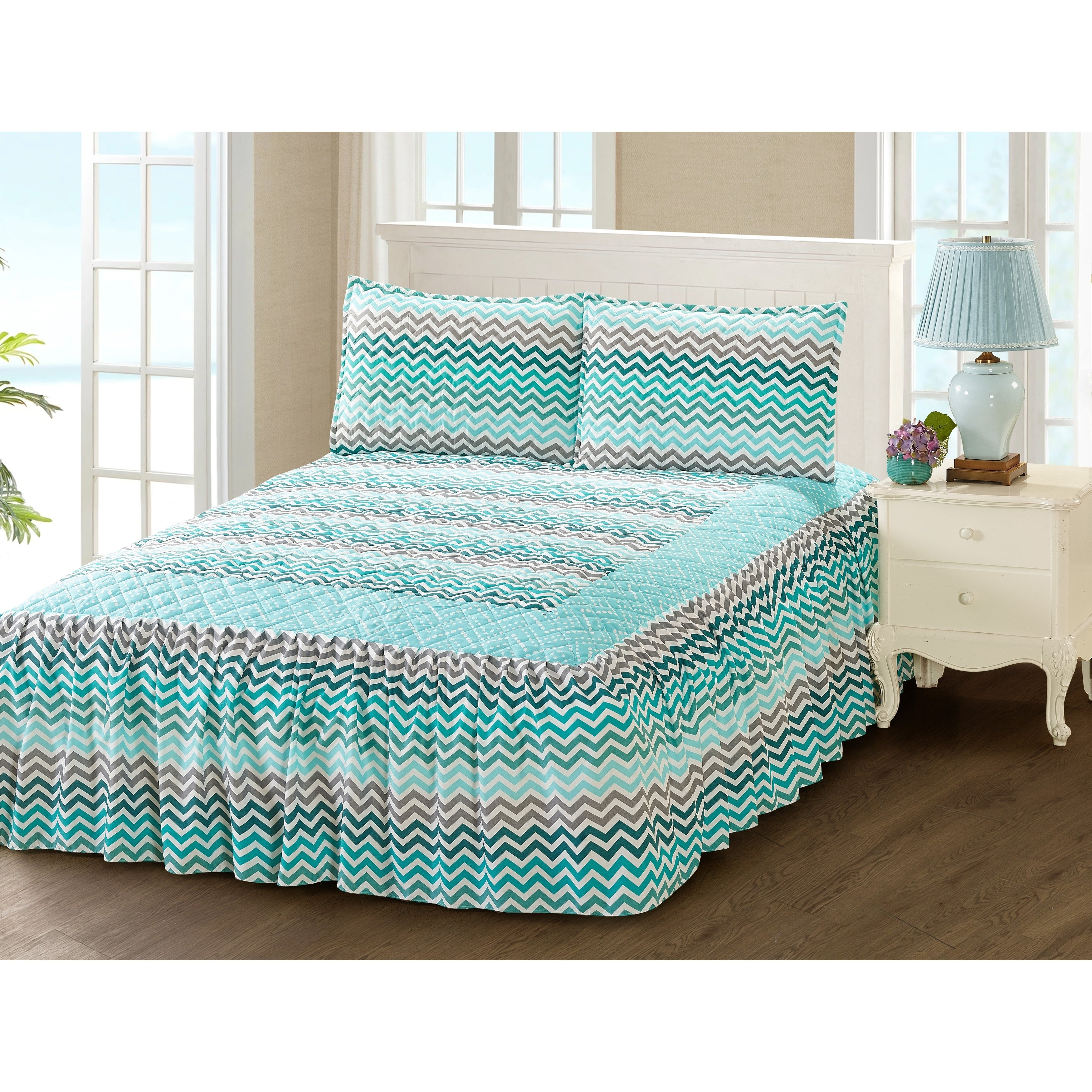 Khloe 3 Piece Bedspread Set With Attached Bed Skirt Aqua Zig Zag Multi Color Fl